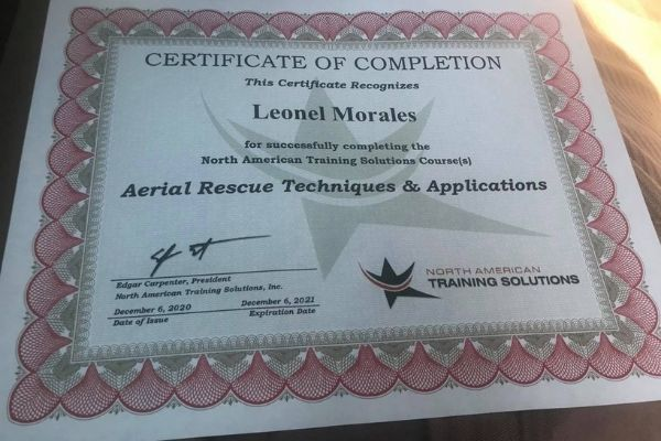 Certified in Aerial Rescue Techniques and Applications